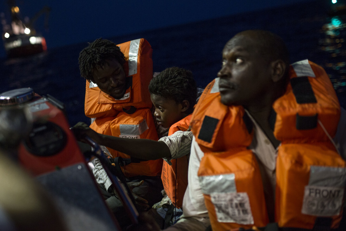 Asylum seekers aboard the Aquarius rescue ship, run by SOS Mediterranee and Médecins Sans Frontières after they were rescued in the Mediterranean Sea, on August 15th, 2017.