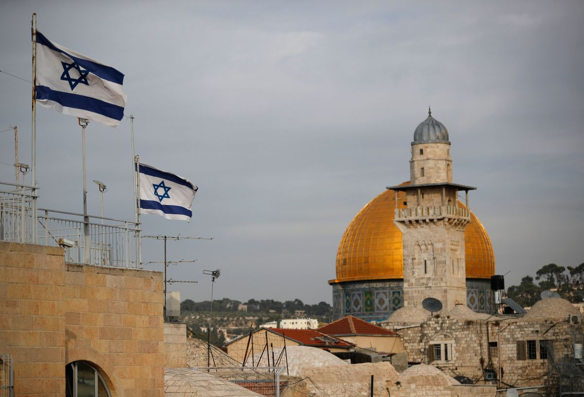 Israeli flags fly near the Dome of the Rock in the al-Aqsa mosque compound on December 5th, 2017.