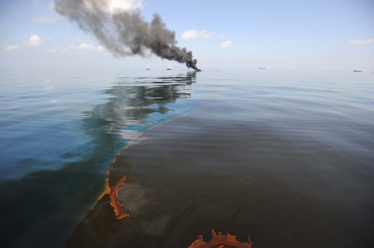 Oil burns during a controlled fire on May 6th, 2010, in the Gulf of Mexico.