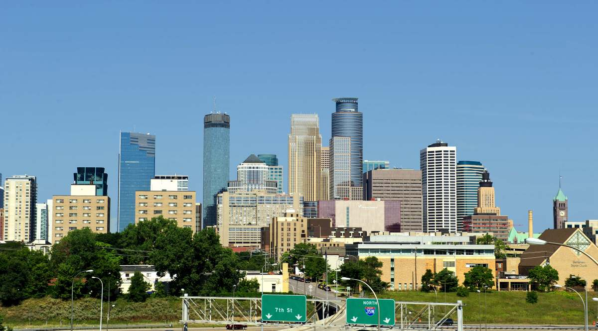 The skyline of Minneapolis, Minnesota.