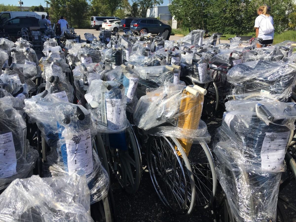 Donated wheelchairs for survivors of Hurricane Harvey.