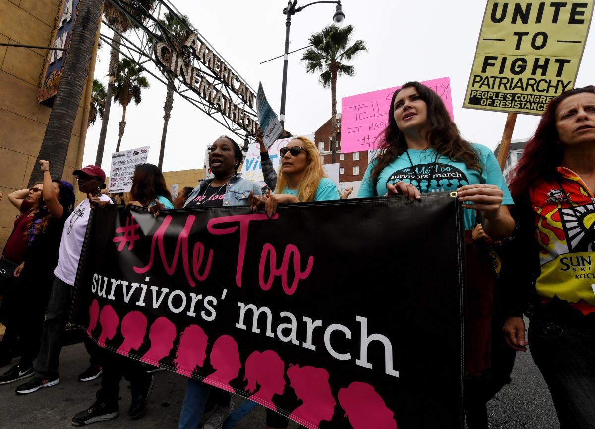 Victims of sexual harassment, sexual assault, sexual abuse, and their supporters protest during a #MeToo march in Hollywood, California, on November 12th, 2017.