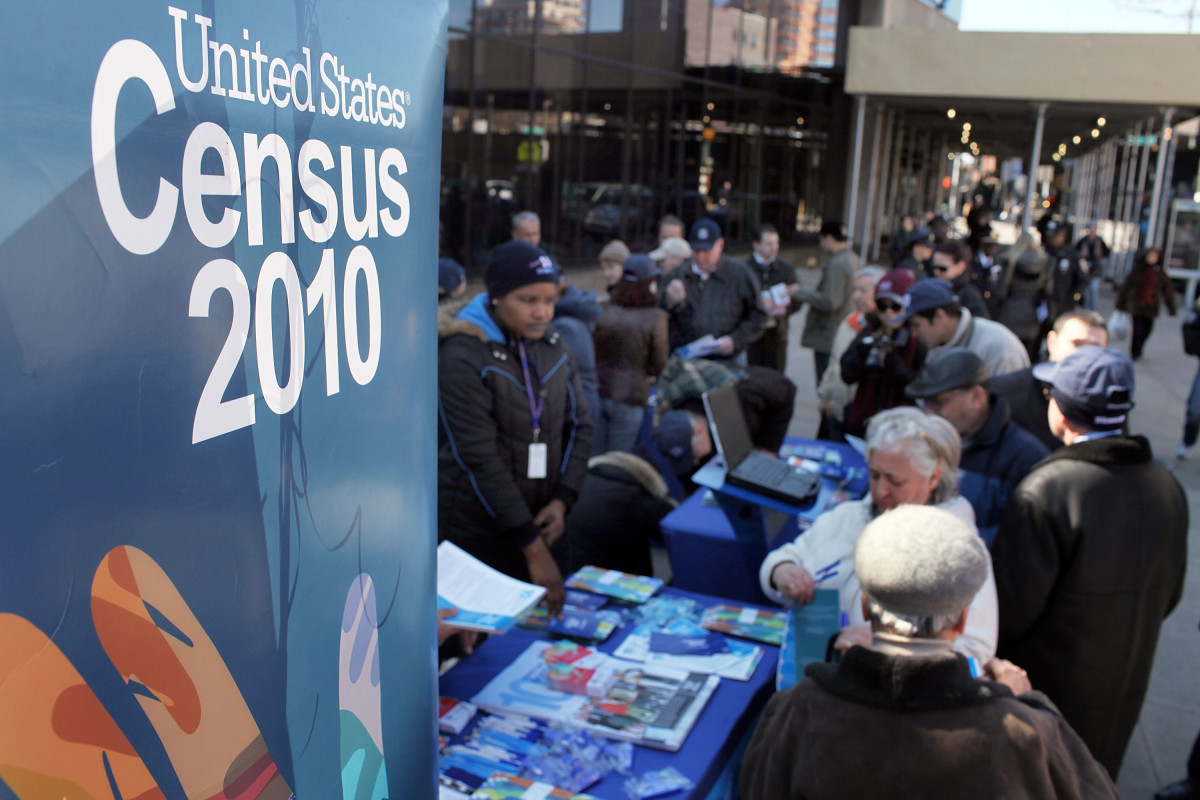 Census workers inform ethnic Russians of the upcoming census count in the Russian enclave of Brighton Beach on March 7th, 2010, in the Brooklyn borough of New York.