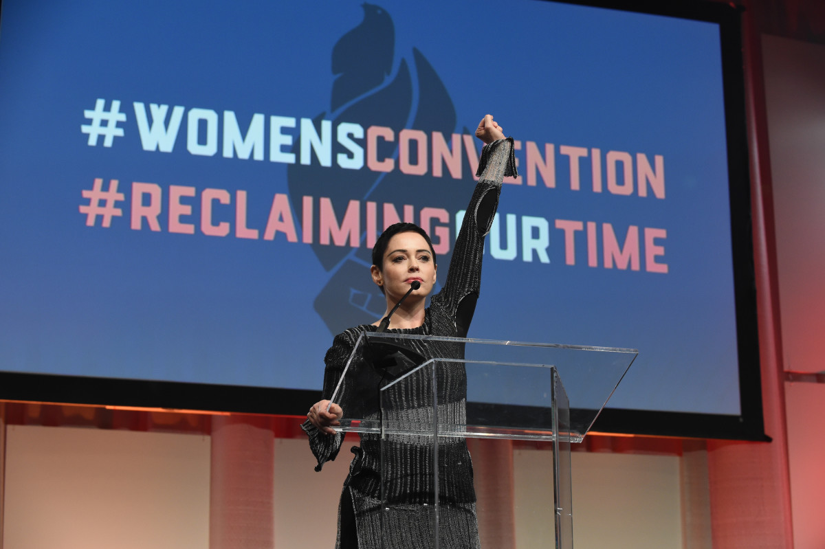 Actress Rose McGowan speaks at the Women's Convention in Detroit, Michigan, on October 27th, 2017.