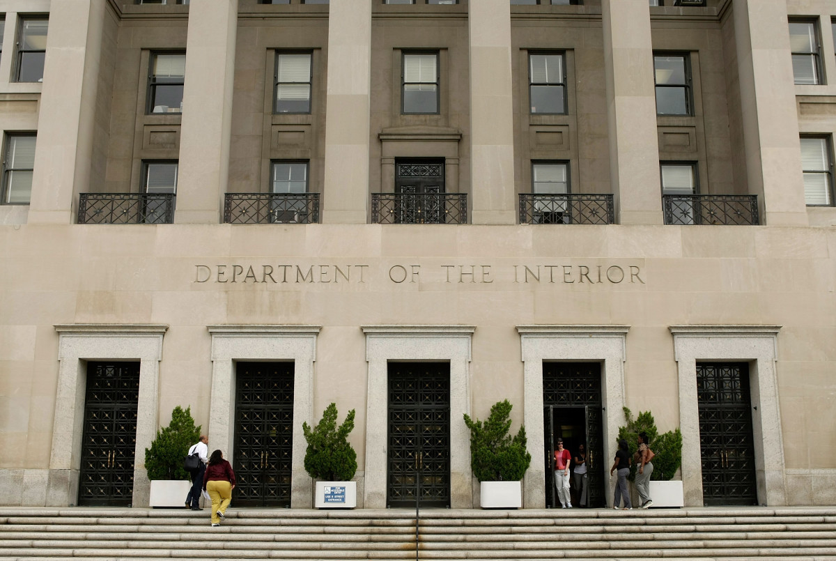An exterior view of the U.S. Department of the Interior in Washington, D.C.