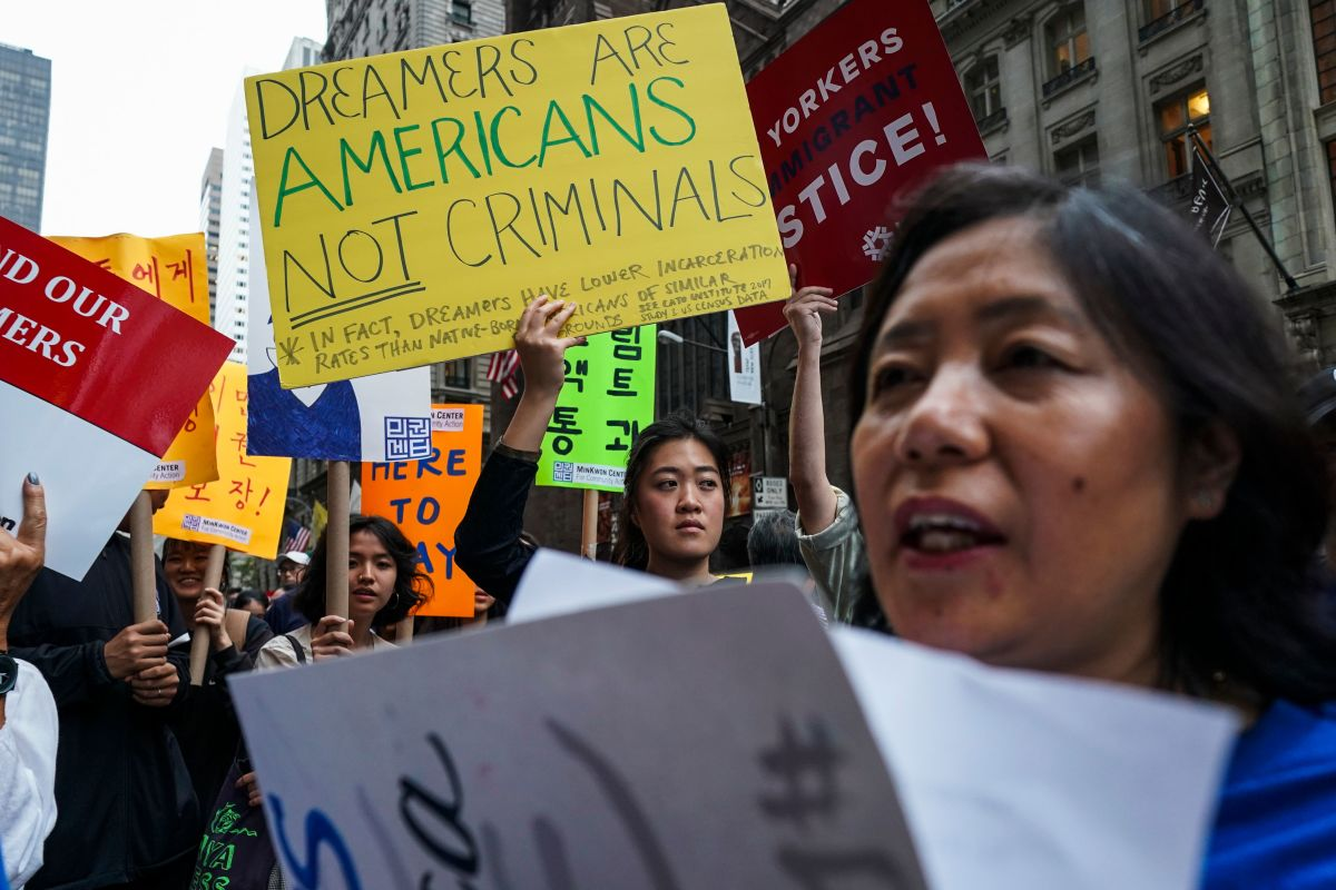 People demonstrate in support of the Deferred Action for Childhood Arrivals in New York City on October 5th, 2017.