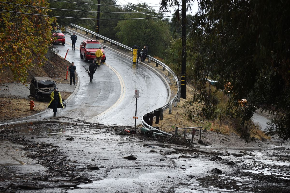 Mud runs over a road on January 9th, 2018, in Burbank, California.