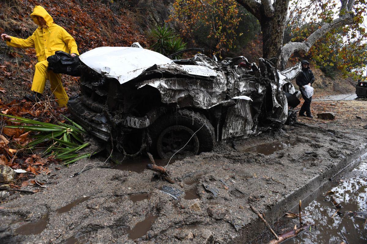 Mud fills a street in Burbank, California, on January 9th, 2018.