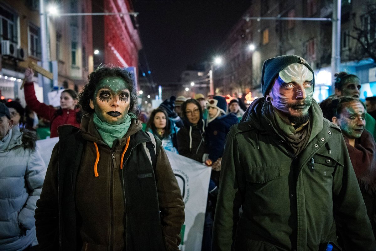 Environmentalists attend a demonstration on January 11th, 2018, in Sofia, Bulgaria, to protest recent changes in the management plan of the country's Pirin National Park.