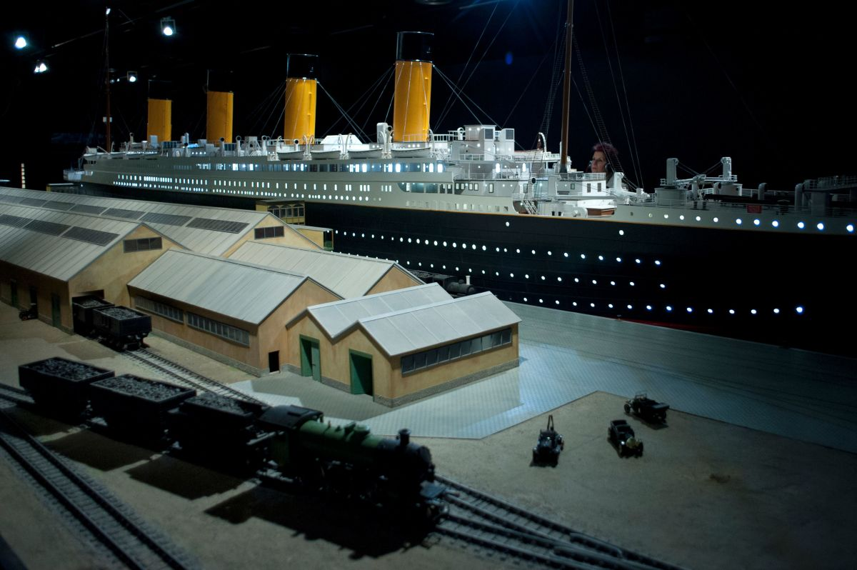 A woman looks at a 1:30 replica of the ship Titanic, built in the Park of Sciences in Granada, on February 25th, 2016.