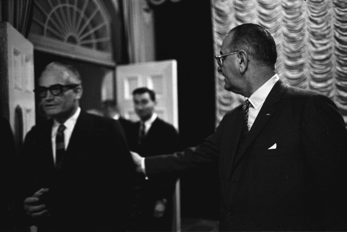 President Lyndon B. Johnson with Senator Barry Goldwater, pictured here on January 16th, 1964.