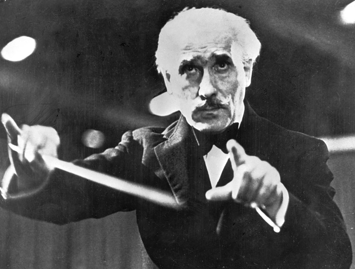 Italian conductor Arturo Toscanini, pictured here in 1944.