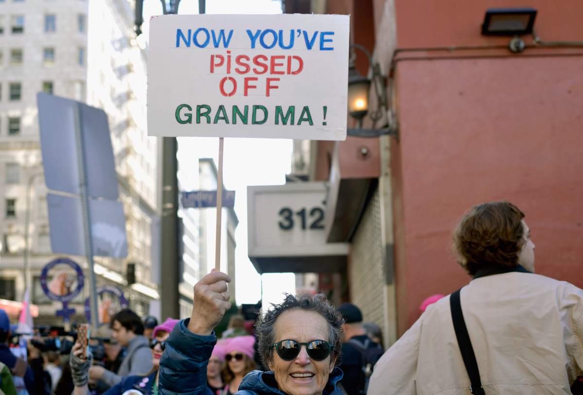 Participants rally during the Women's March on January 20th, 2018, in Los Angeles, California.