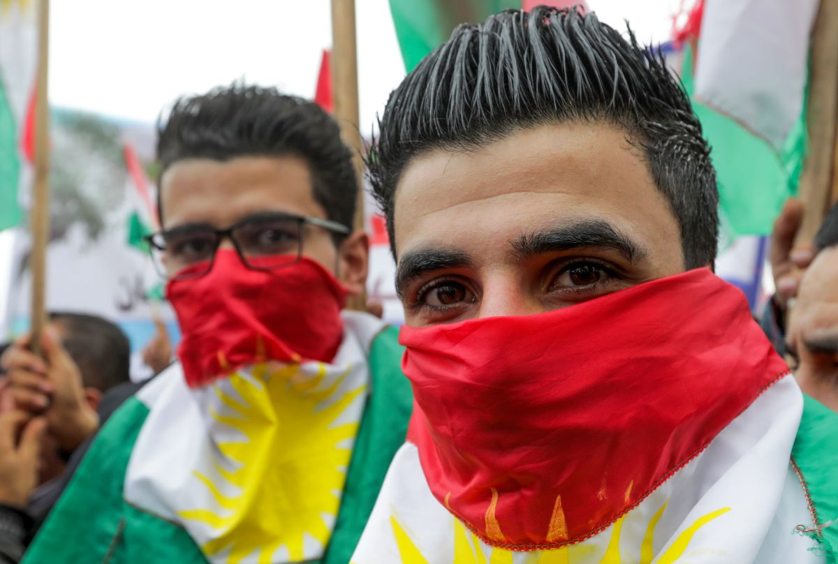 Lebanese Kurds take part in a protest near the European Commission offices in Beirut on January 28th, 2018, against the ongoing Turkish military campaign in the Kurdish-held Syrian enclave of Afrin. Turkey launched an offensive against the Kurdish People's Protection Units on January 20th in their enclave of Afrin, supporting Syrian rebels with airstrikes and ground troops.