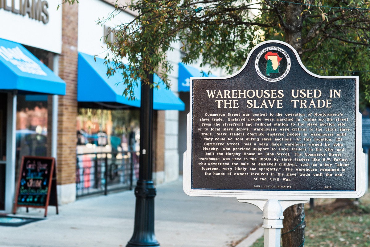 A historical marker outside the Equal Justice Initiative building in Montgomery, Alabama.