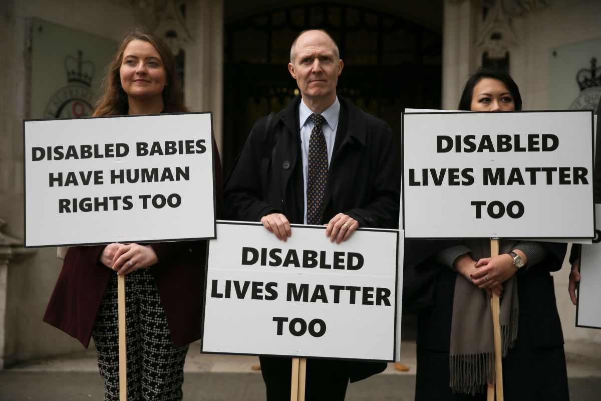 Anti-abortion activists demonstrate outside the the Supreme Court in central London on October 24th, 2017, where a case on the abortion regime in Northern Ireland was being heard. Abortion in Northern Ireland is illegal in all cases except when the life of the mother is in danger.