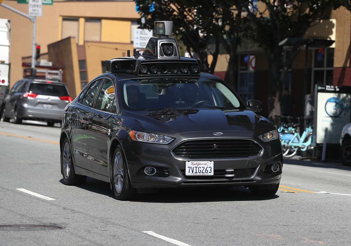 An Uber self-driving car drives down 5th Street on March 28th, 2017, in San Francisco, California.