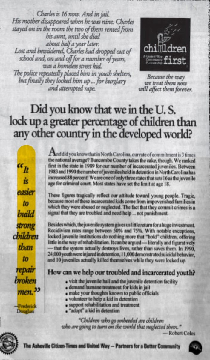 An advertisement from the non-profit Children First—A United Way Community Partnership.