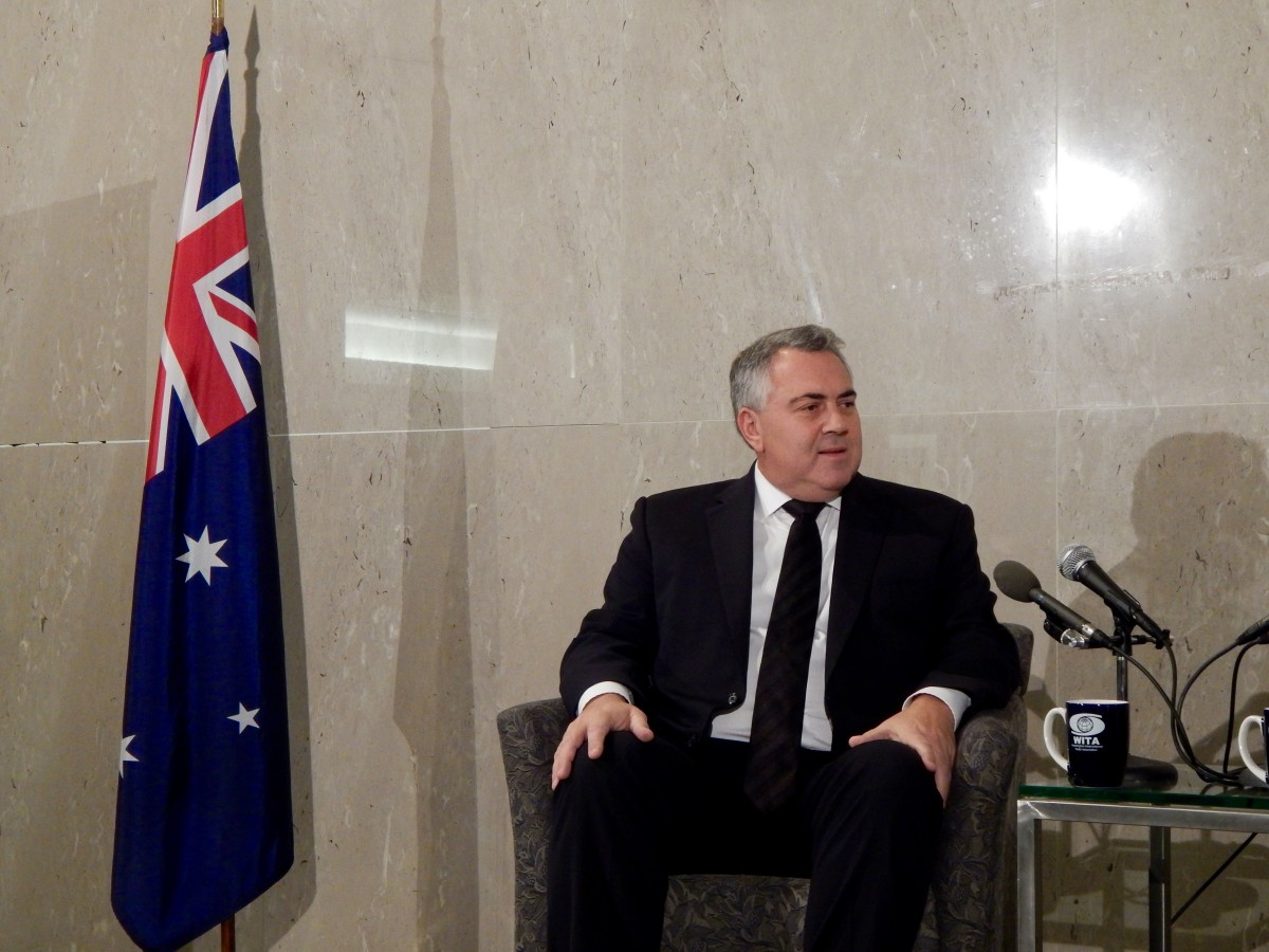 Ambassador Joe Hockey addresses the Washington International Trade Association at the Embassy of Australia in Washington, D.C.