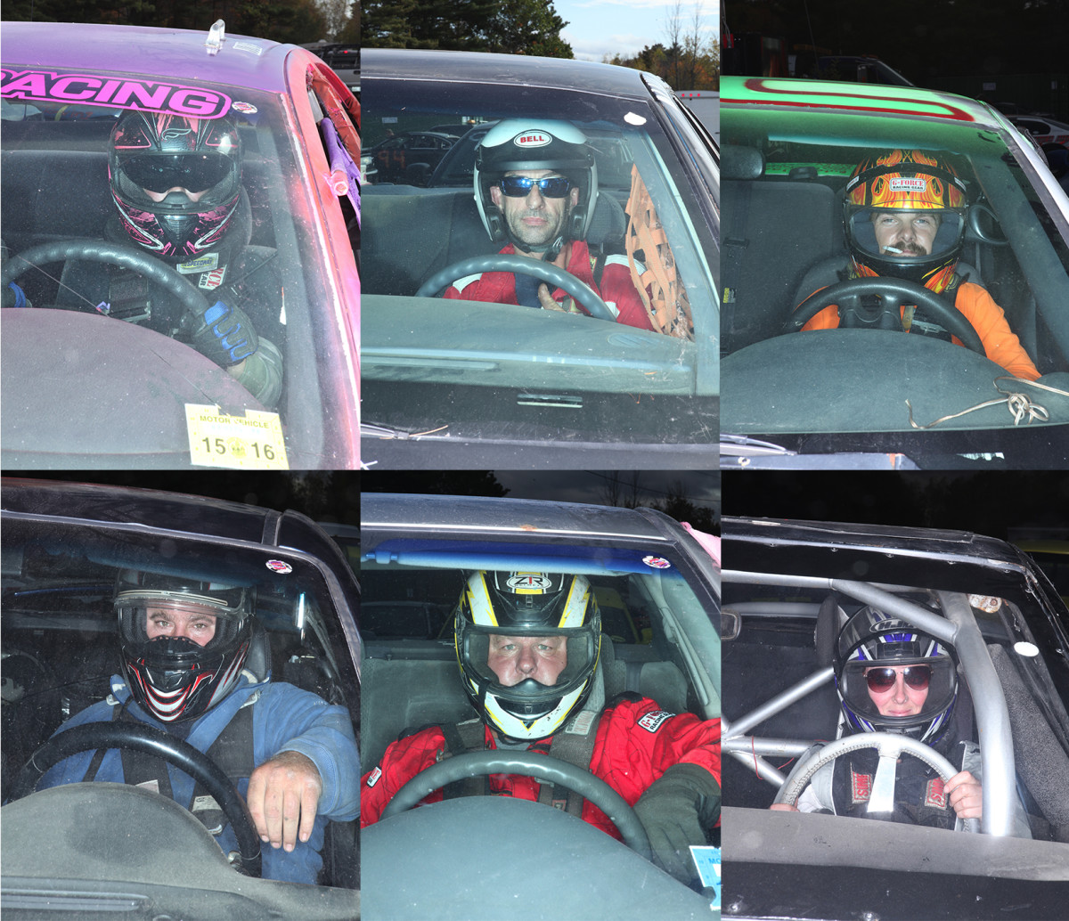 Some of the drivers at Skowhegan's demolition derby.