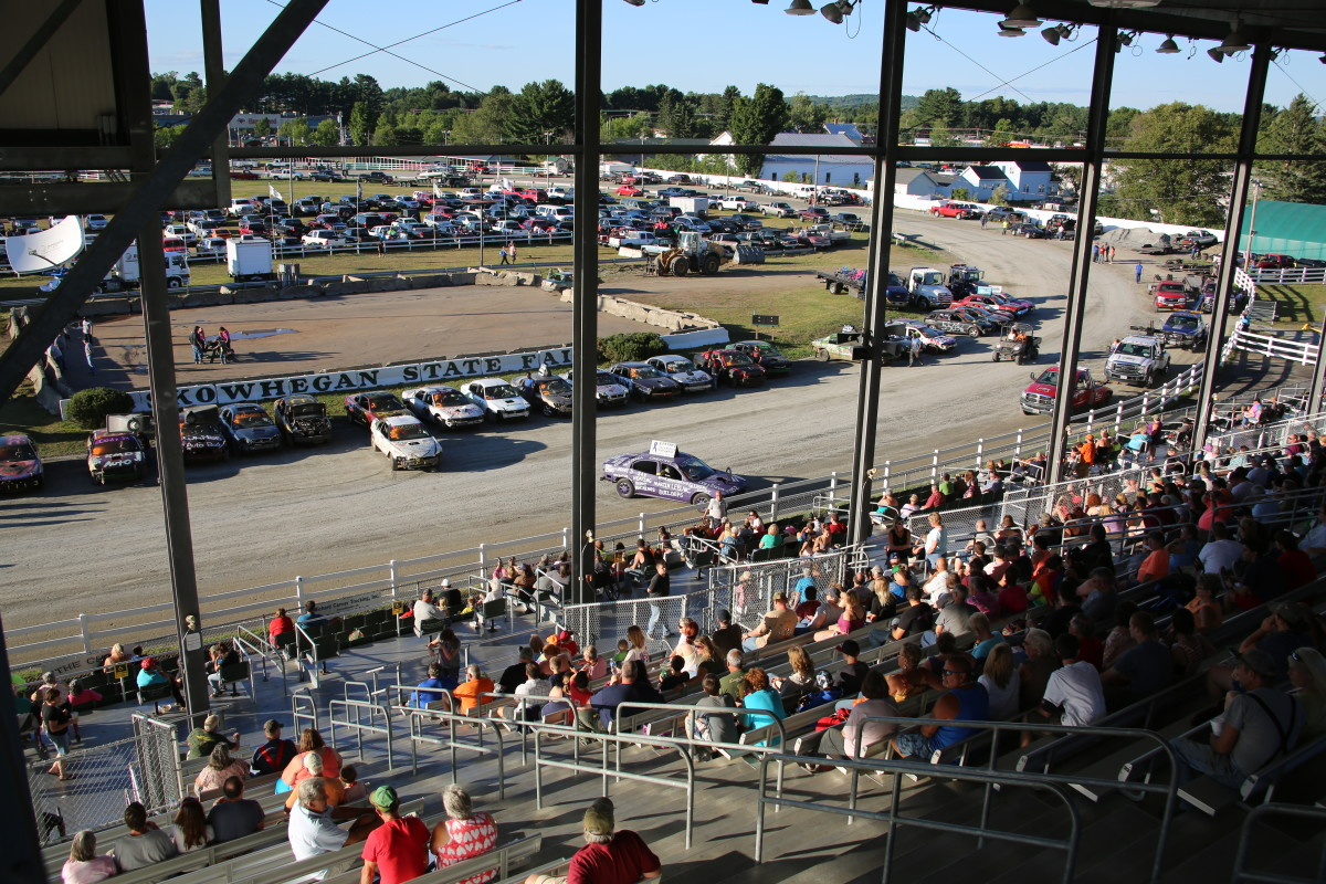 A photo of the demolition derby crowd at the Skowhegan State Fair in Maine.