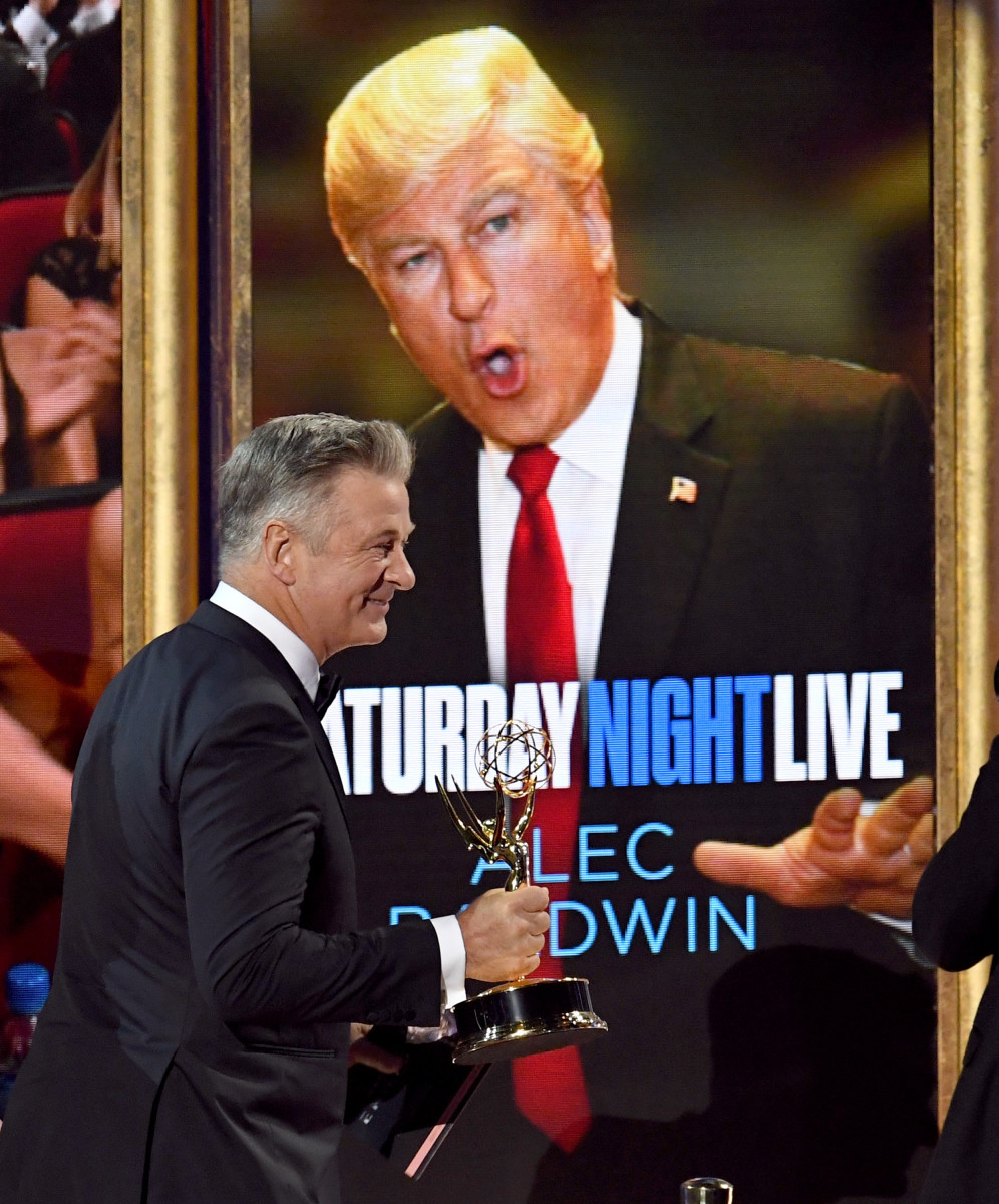 Actor Alec Baldwin accepts an award on September 17th, 2017, for Outstanding Supporting Actor in a Comedy Series for his portrayal of Donald Trump on Saturday Night Live, in Los Angeles, California.