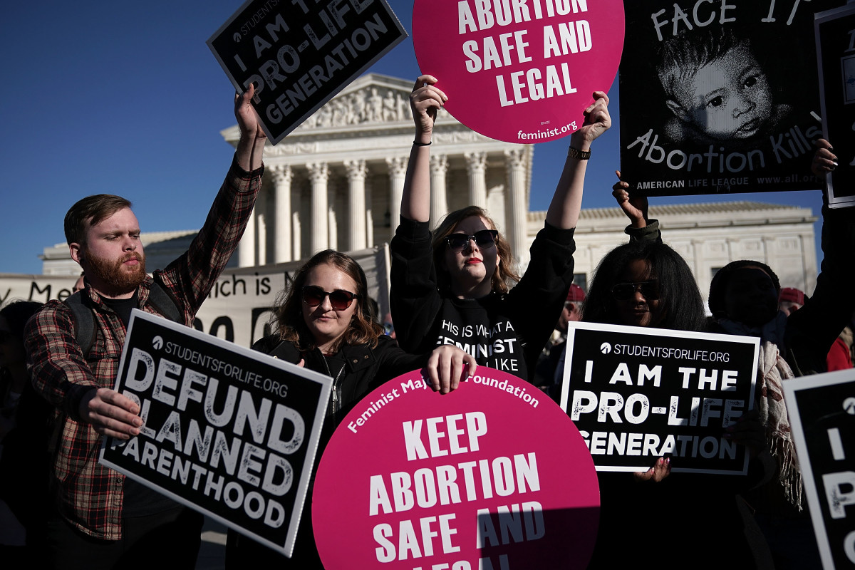 Activists hold signs in front of the the United States Supreme Court during the 2018 March for Life on January 19th, 2018, in Washington, D.C.