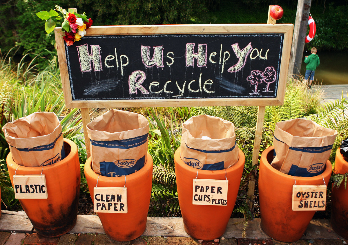 A local recycling scheme in Matakana, New Zealand.