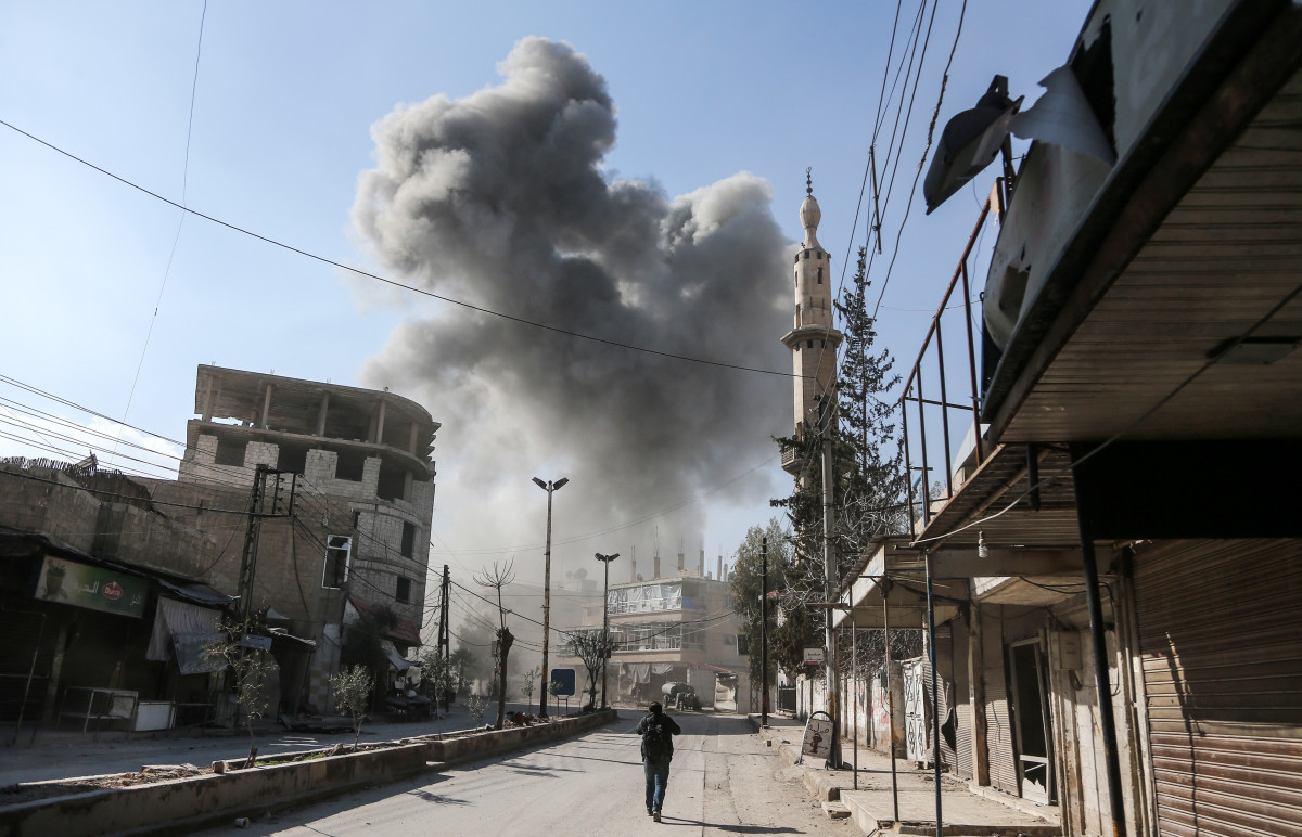 A picture taken on February 21st, 2018, shows a smoke plume rising following a reported regime air strike in the rebel-held enclave of Hamouria in the Eastern Ghouta near Damascus in Syria.