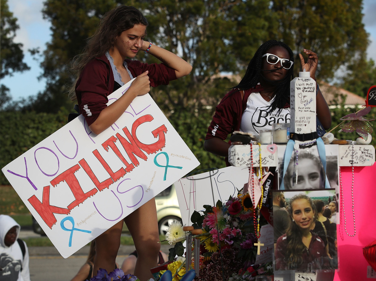 Haleigh Grose, a ninth grader at Marjory Stoneman Douglas High School, at a memorial in front of the school where 17 people were killed in Parkland, Florida.