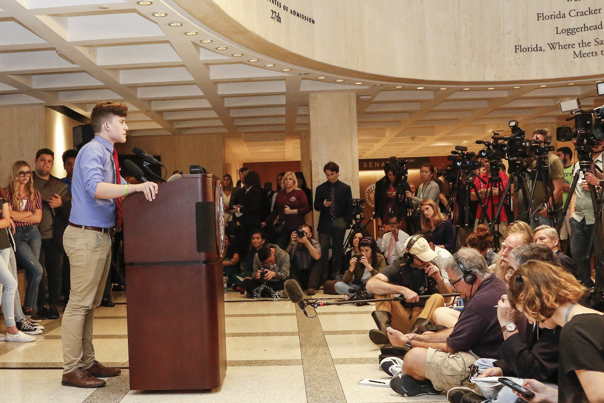 Kevin Trejos, a student from Marjory Stoneman Douglas High School, speaks at the Florida State Capitol building on February 21st, 2018, in Tallahassee, Florida.