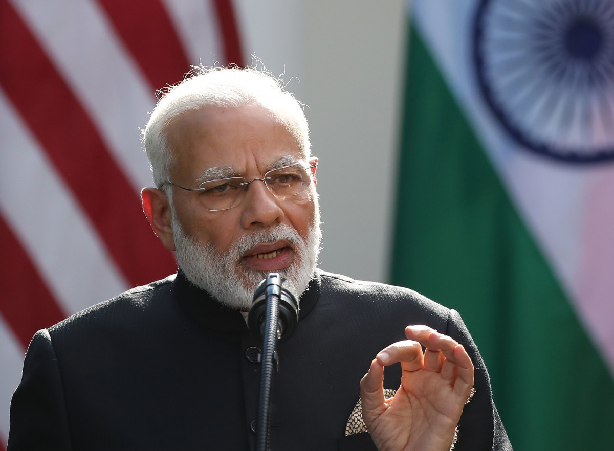 Indian Prime Minister Narendra Modi speaks while delivering joint statements with U.S. President Donald Trump in the Rose Garden of the White House on June 26th, 2017, in Washington, D.C.