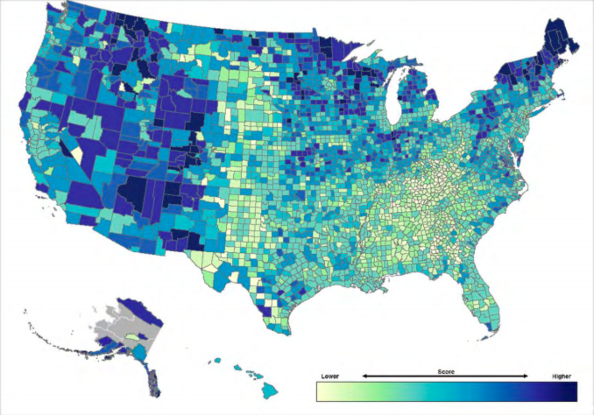 Resilience across the U.S., broken down by county. Darker colors show a higher CRSI score, and therefore greater resilience to climate change. The index excludes eight boroughs in Alaska, owing to a lack of data.