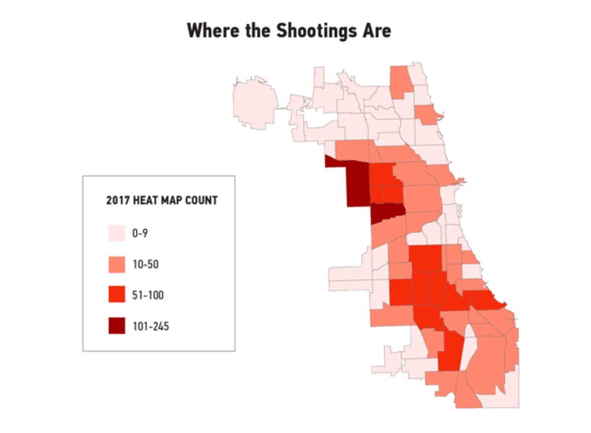 In this heat map of Chicago gun violence, based on data from the first part of 2017, the city's West and South sides dominate.