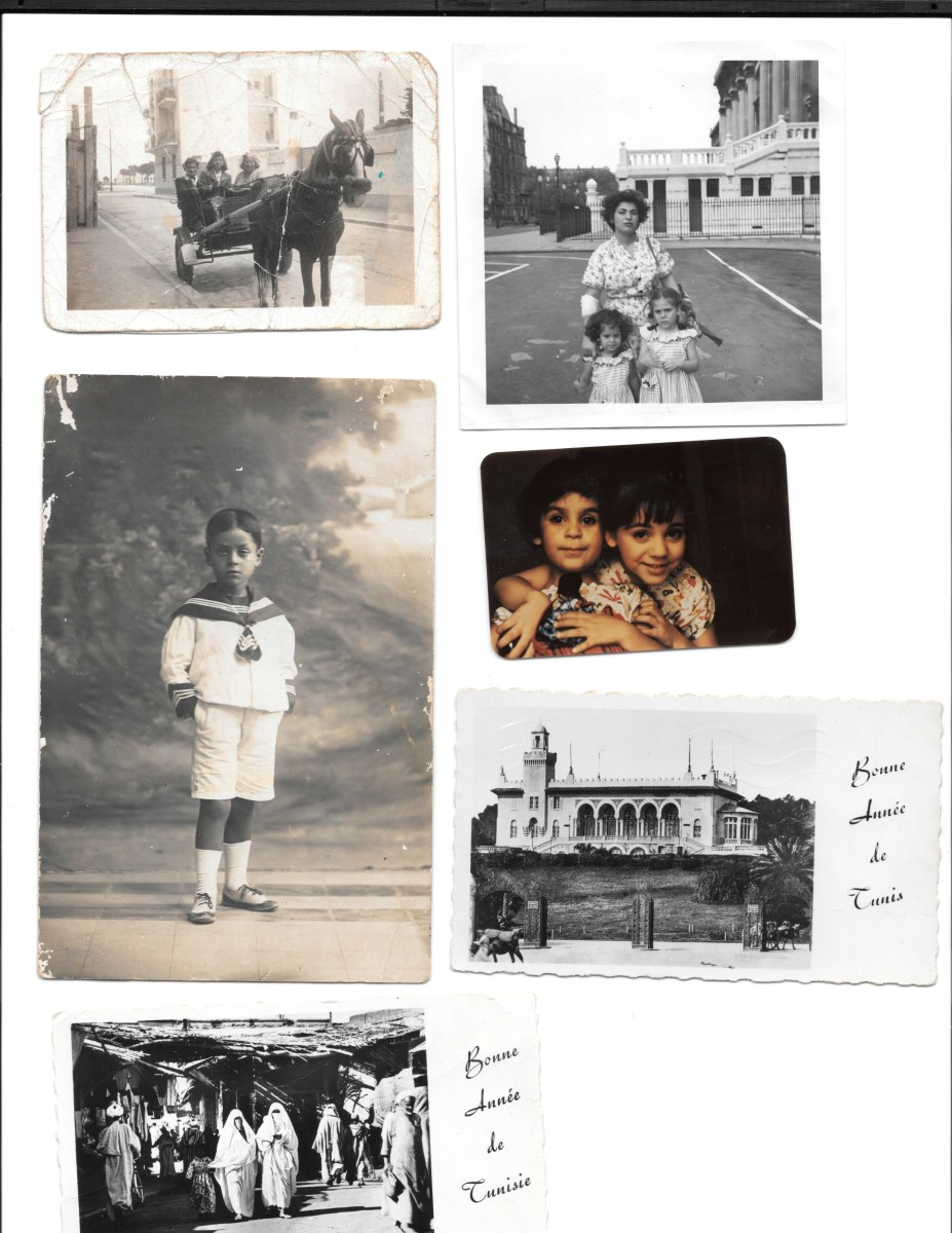 Photos of Hayoun's family in Tunis, Paris, and Alexandria, plus New Year's postcards from other family members who had remained in Tunis.