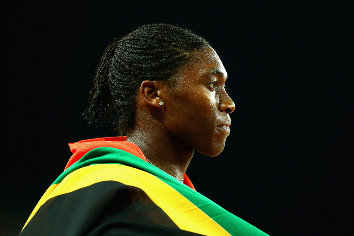 Caster Semenya of South Africa celebrates after winning gold in the Women's 800 meters.