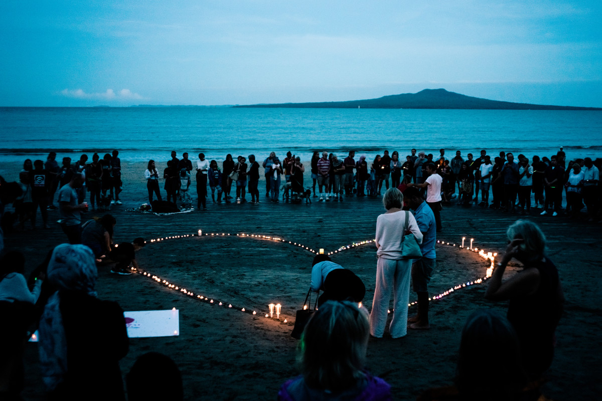 Crowds gather for a vigil in memory of the victims of the Christchurch mosque terror attacks on March 16th, 2019, in Auckland, New Zealand.