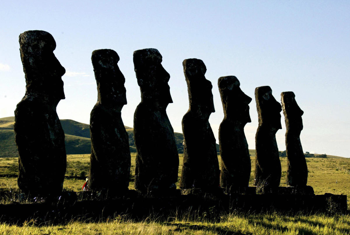A platform with seven huge statues in Ahu Akivi on Easter Island, February 12th, 2005.