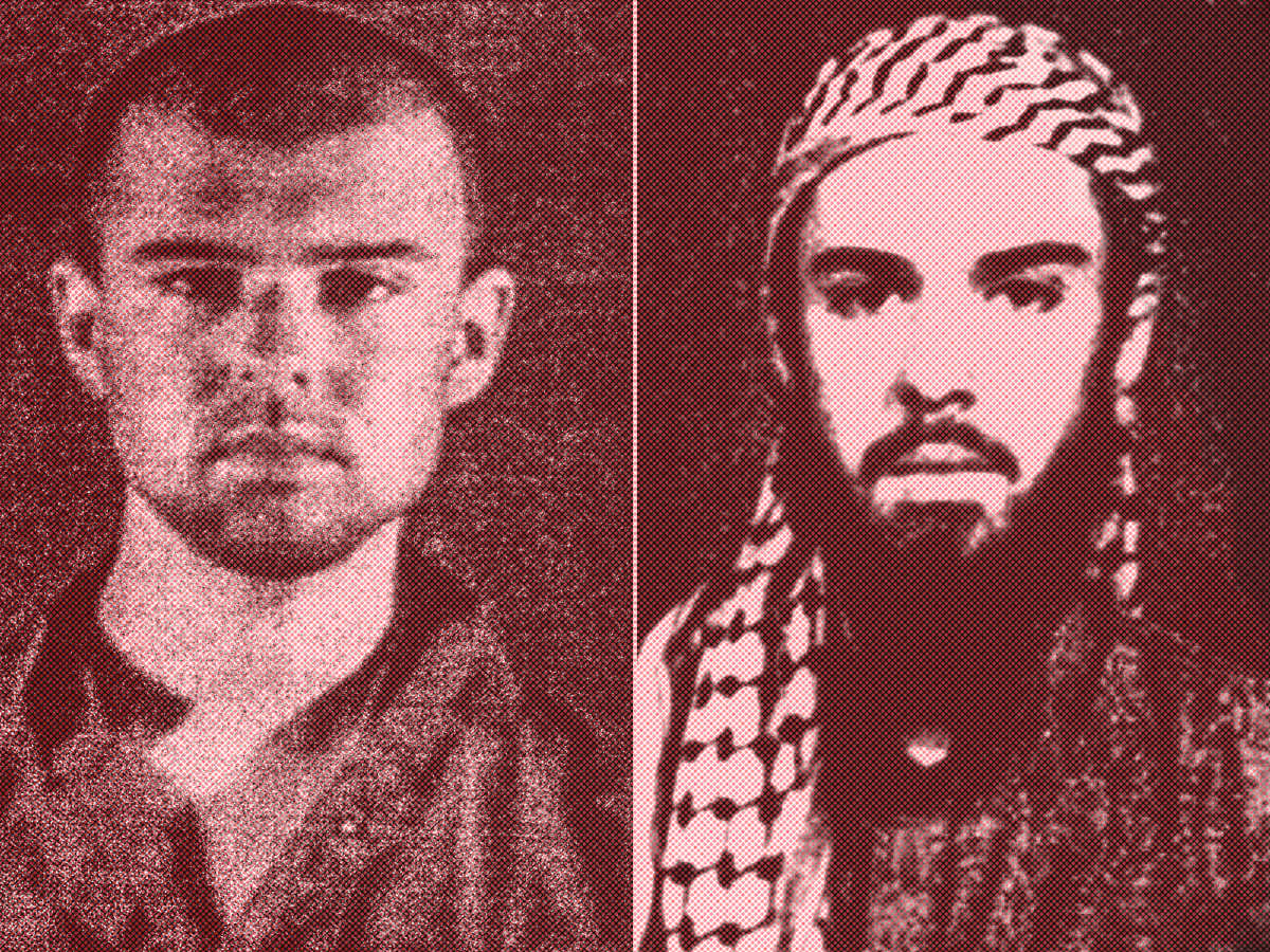 "(Left) A police file photo made available February 6th, 2002, of the ""American Taliban"" John Walker Lindh. (Right) A February 11th, 2002, photograph of Lindh as seen from the records of the Arabia Hassani Kalan Surani Bannu madrassa (religious school) in Pakistan's northwestern city of Bannu."