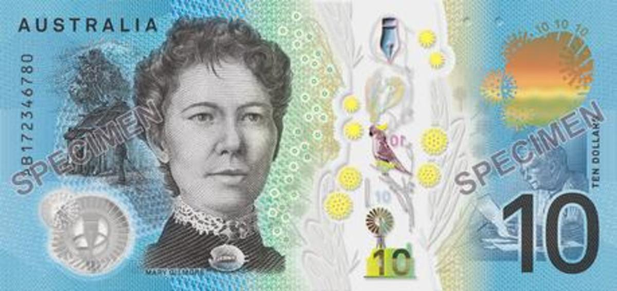 Australia's $10 note as it has appeared since 2017, featuring Mary Gilmore.