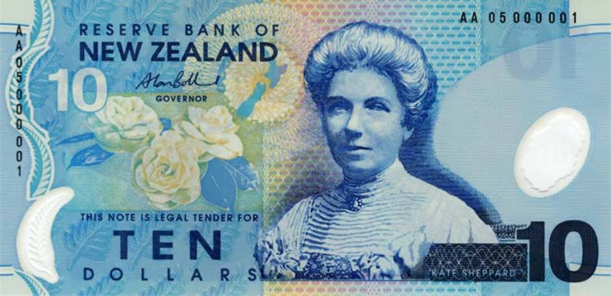 New Zealand's $10 note, featuring Kate Sheppard.
