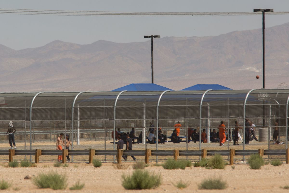 Imprisoned immigrants are seen at the Immigration and Customs Enforcement Adelanto Detention Facility on September 6th, 2016, in Adelanto, California.