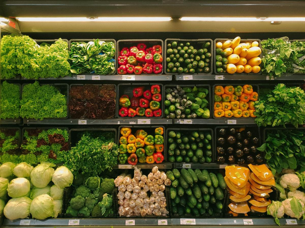 Vegetables are displayed at a supermarket.