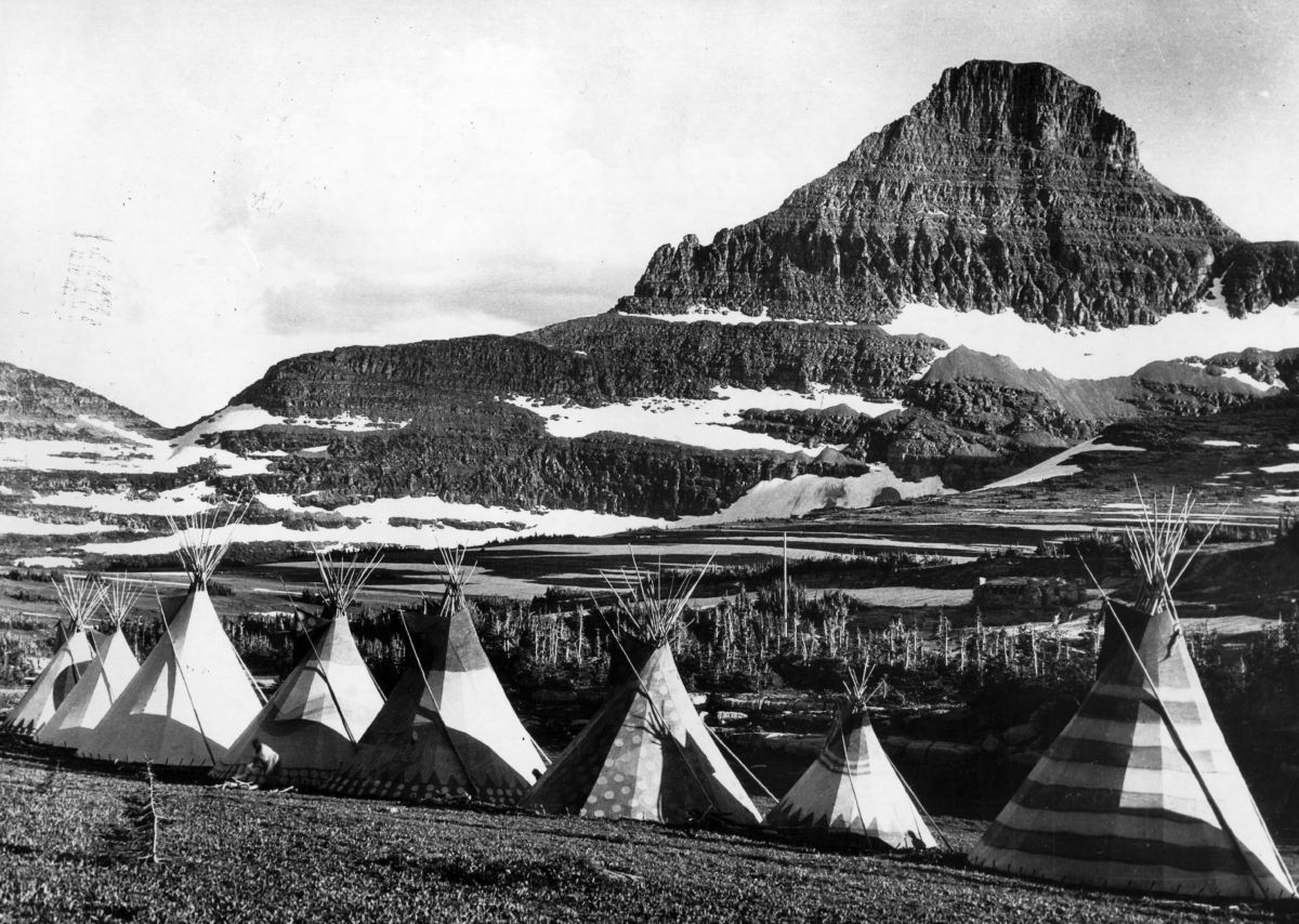 Blackfoot teepees at Glacier National Park, Montana, circa 1950.