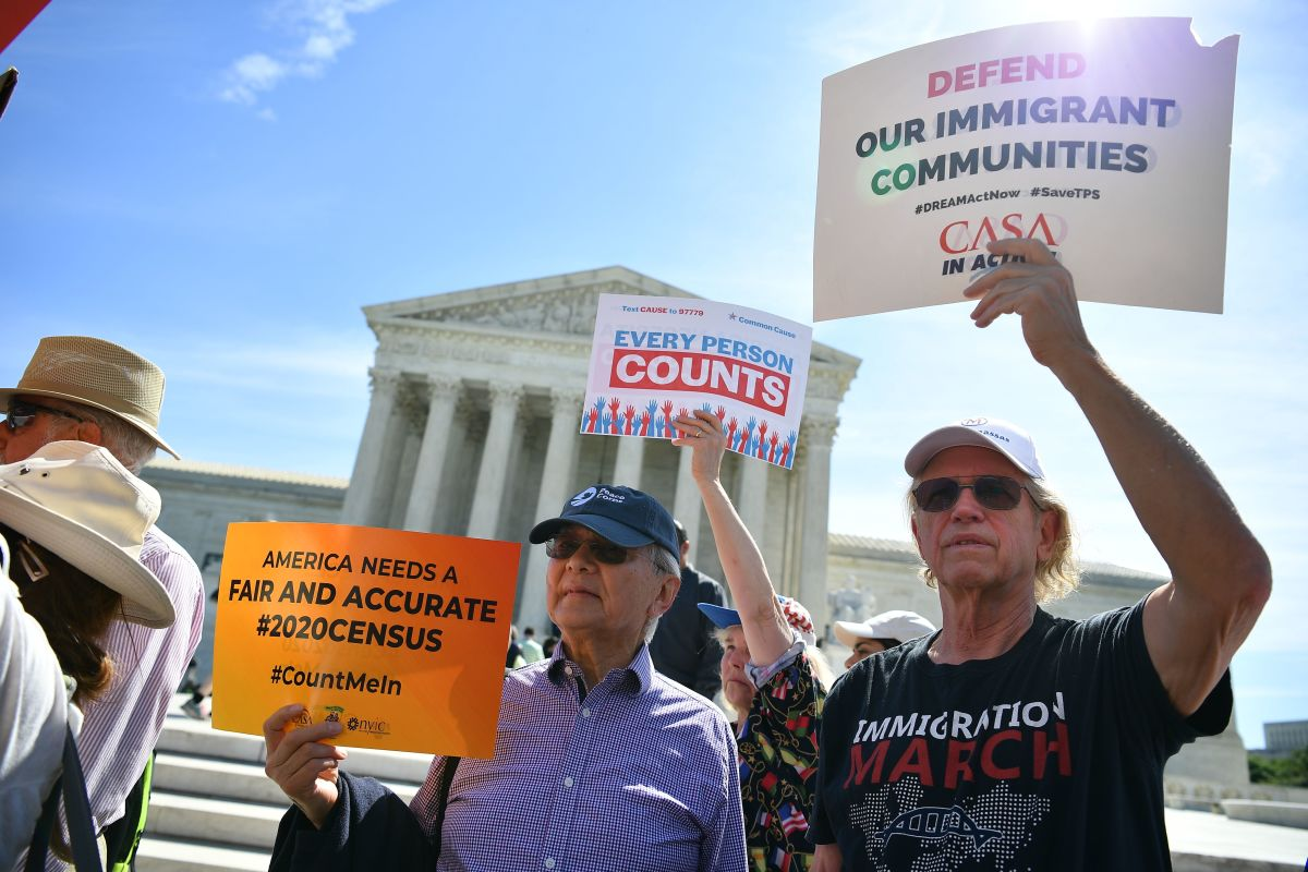 Demonstrators rally at the U.S. Supreme Court in Washington, D.C., on April 23rd, 2019, to protest the proposal to add a citizenship question to the 2020 Census.