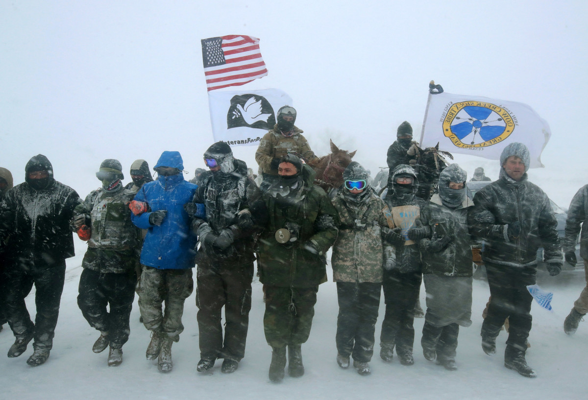 Keystone XL pipeline protesters on the Standing Rock Sioux Reservation on December 5th, 2016.