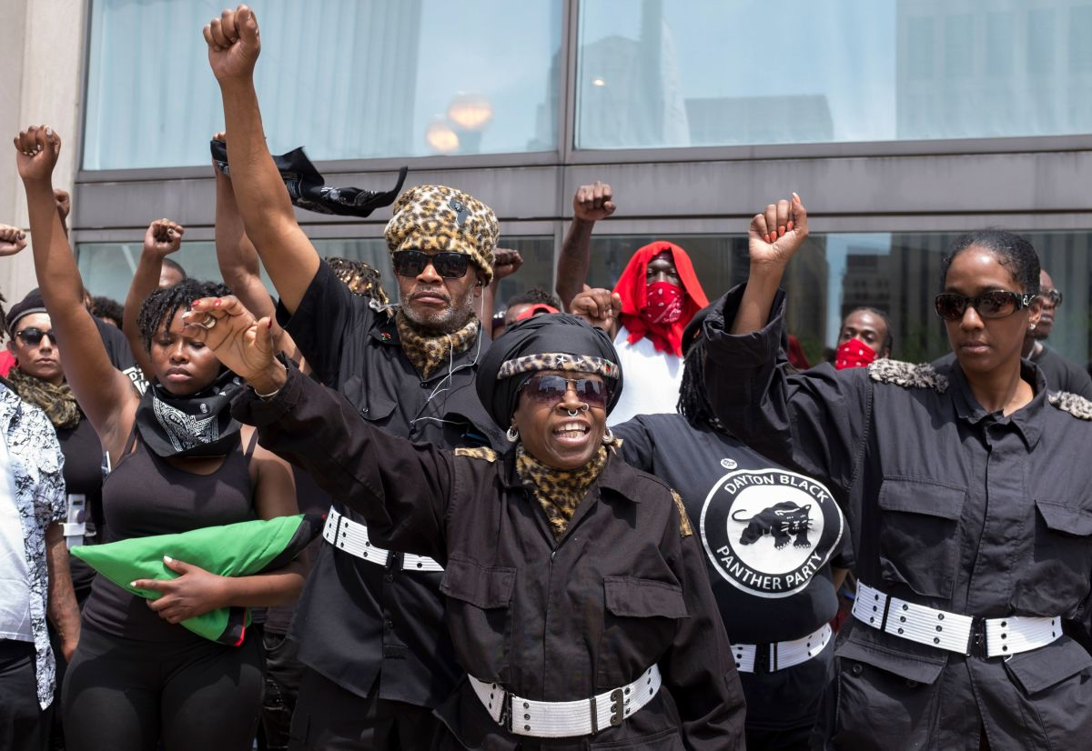 Members of the Dayton chapter of the Black Panthers protest against a small group from the KKK-affiliated Honorable Sacred Knights during a rally in Dayton, Ohio, on May 25th, 2019.
