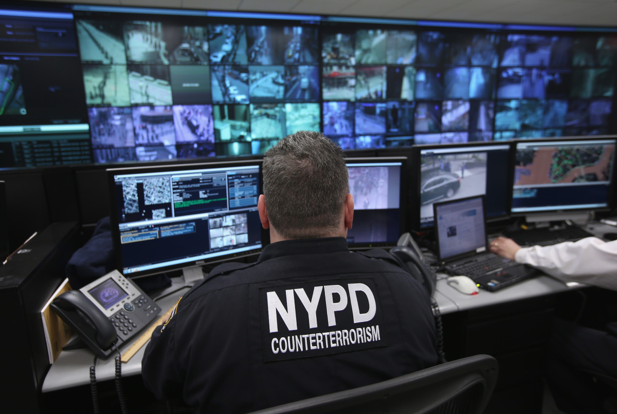 Police monitor security cameras at the Lower Manhattan Security Initiative on April 23rd, 2013, in New York City.