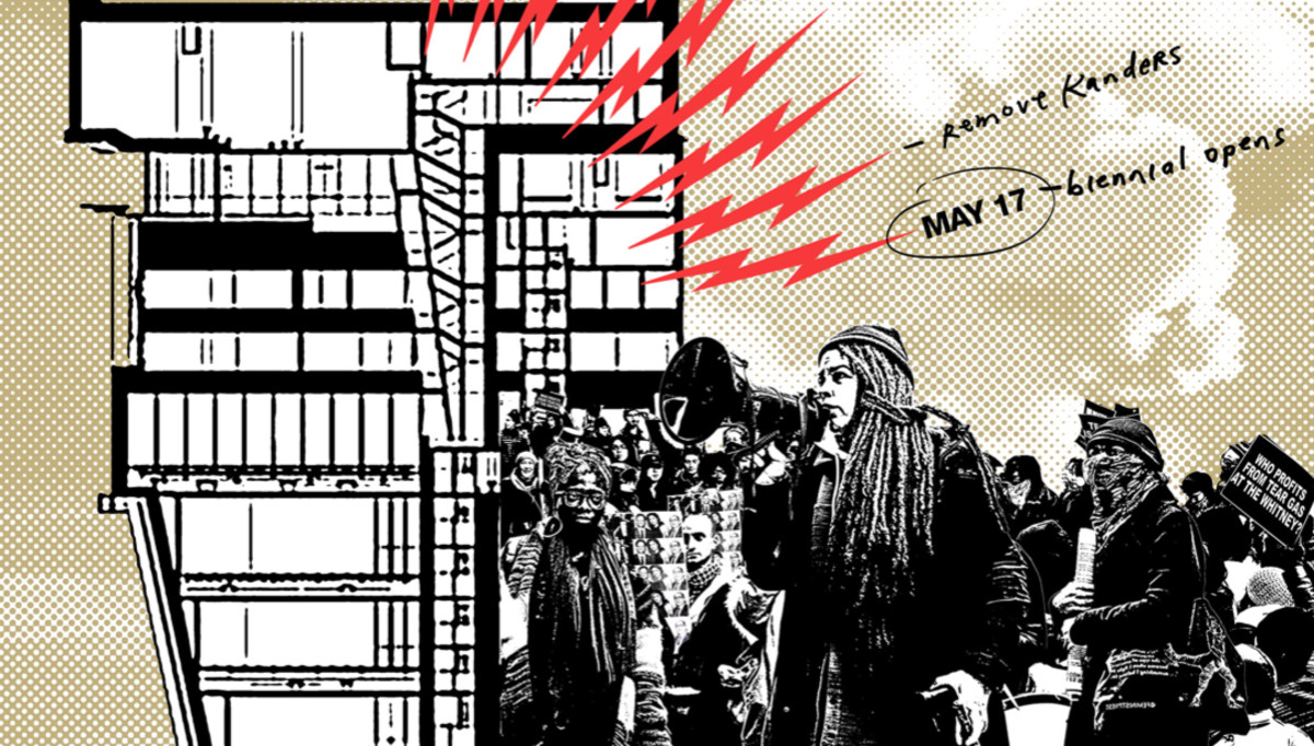 A detail from one of the poster designs for the protests at the Whitney.