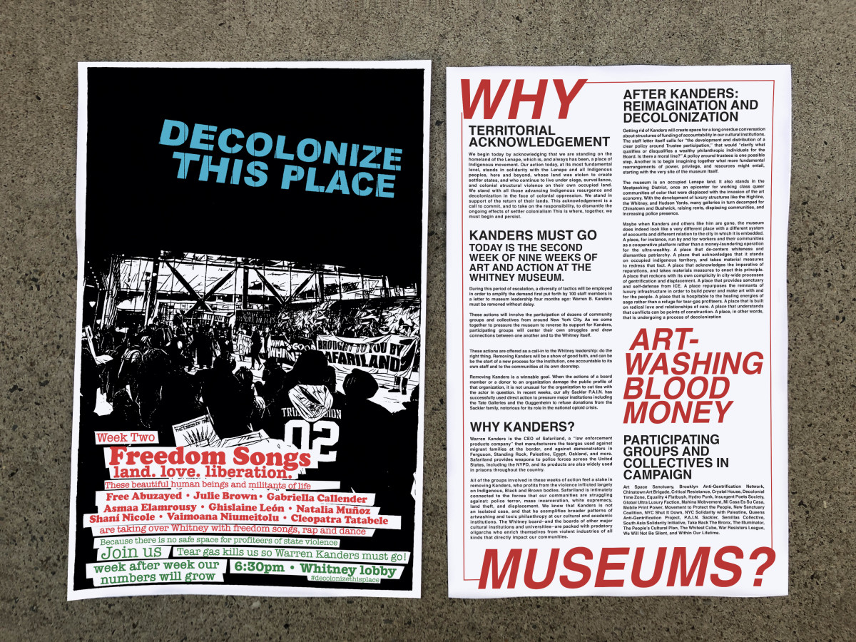 Decolonize This Place's program for the second week of the group's nine-week protest at the Whitney.